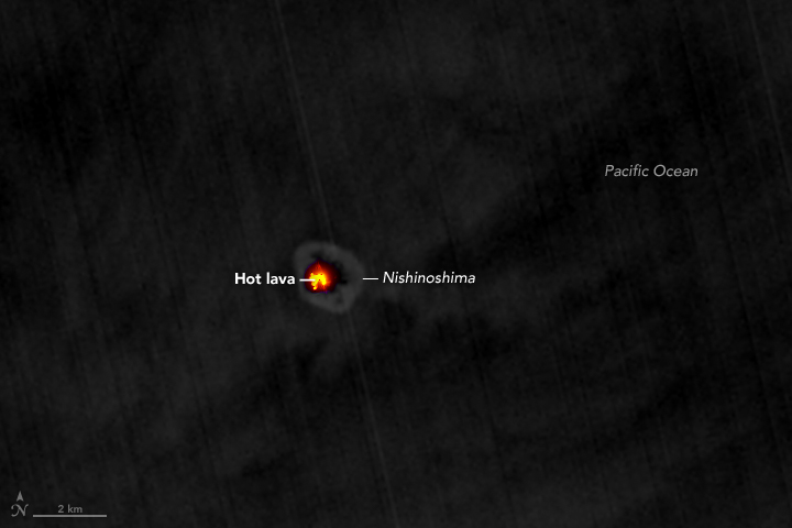 Lava Glows Atop Nishinoshima