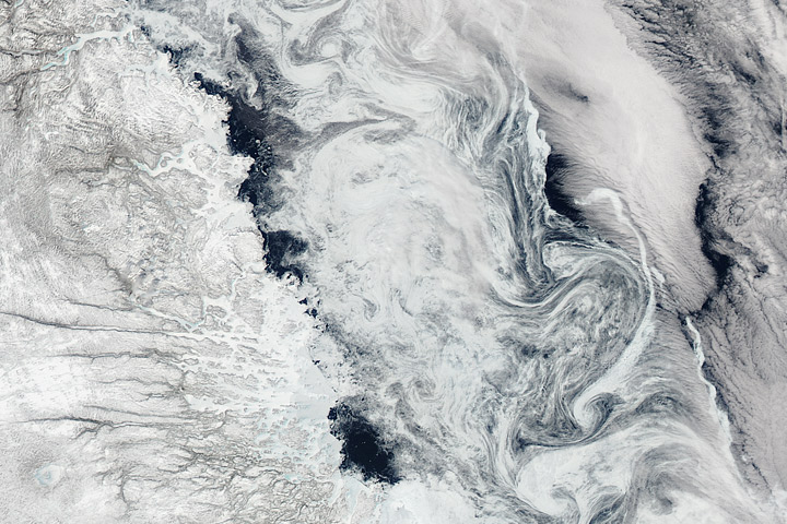 Sea Ice Swirls in the Labrador Sea