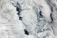 Sea Ice Swirls in the Labrador Sea