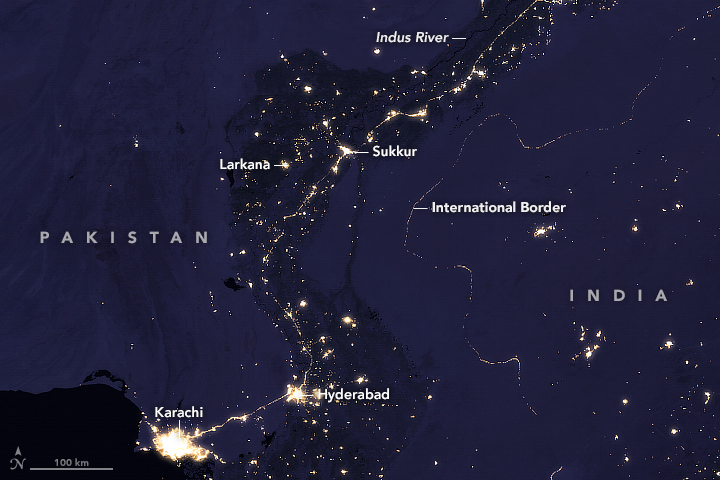 The Glow of the Indus River Basin