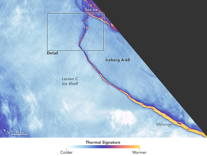 Landsat Spots Birth of Iceberg A-68