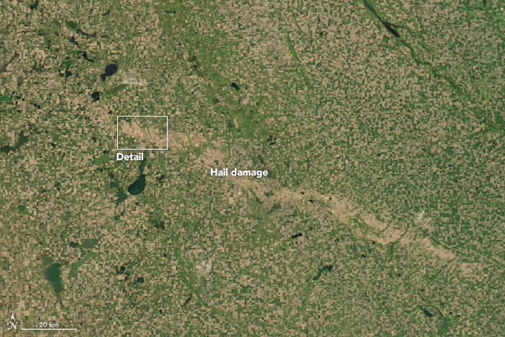 Using Satellites to Spot a Hail Scar