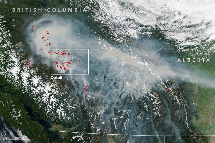 Forest Fires Blanket British Columbia with Smoke