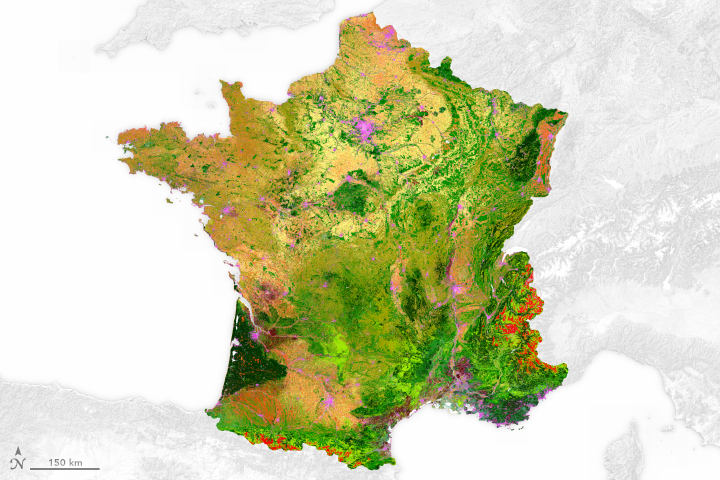 Map Of France France.Land Cover Map Of France