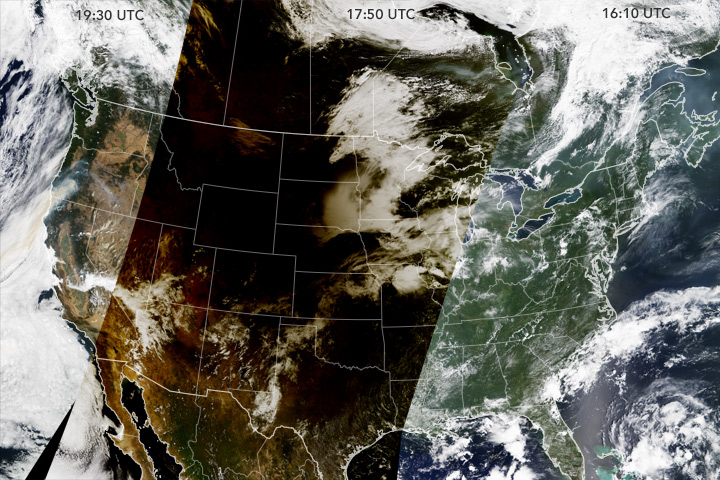 Eclipse Shadow Darkens the United States