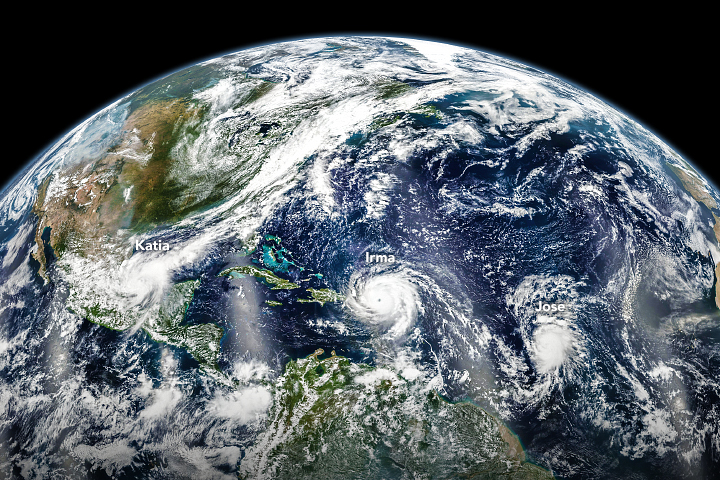 Three Hurricanes in the Atlantic