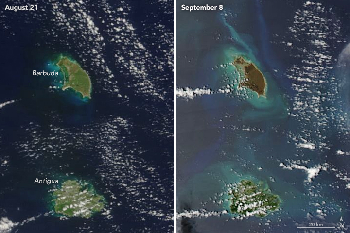 Hurricane Irma Turns Caribbean Islands Brown  Image of the Day