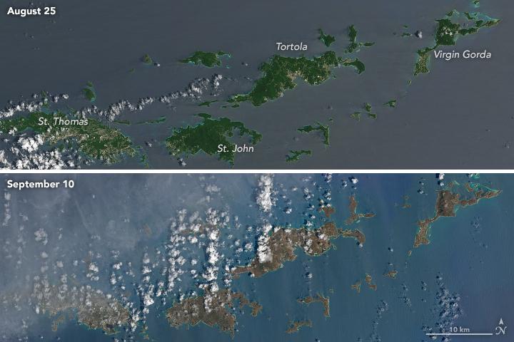 Irma. Karaiby przed i po./NASA/