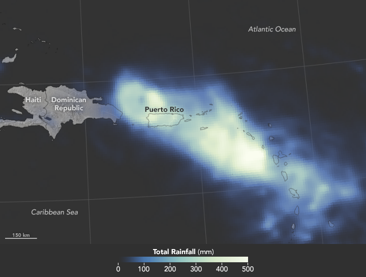 rainfall map for Hurricane Maria