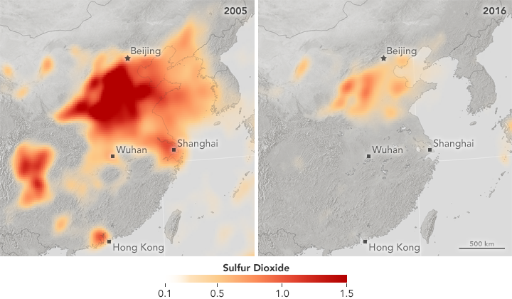 Sulfur Dioxide Emissions Fall in China, Rise in India