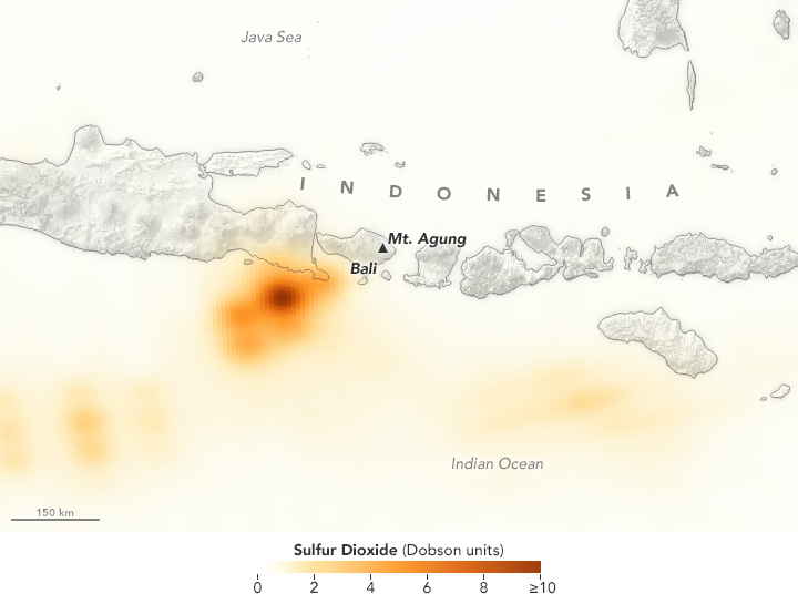 Tracking the Sulfur Dioxide from Mount Agung