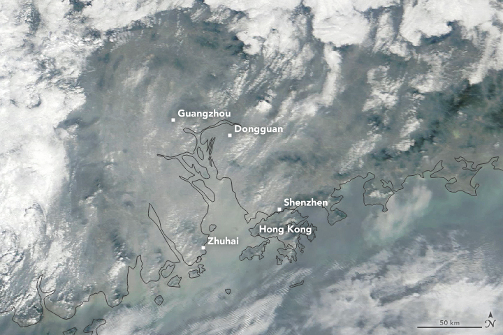 Air Pollution Shrouds the Pearl River Delta