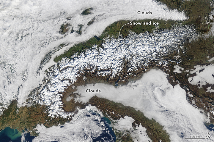 Snow and Clouds around the Alps