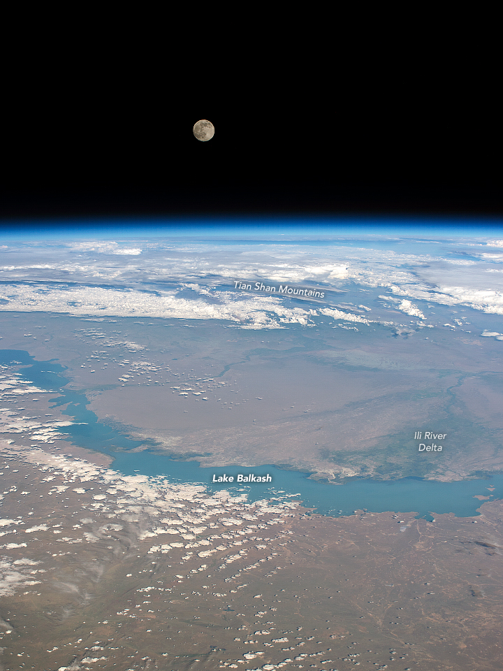 Lake Balkhash Under the Moon