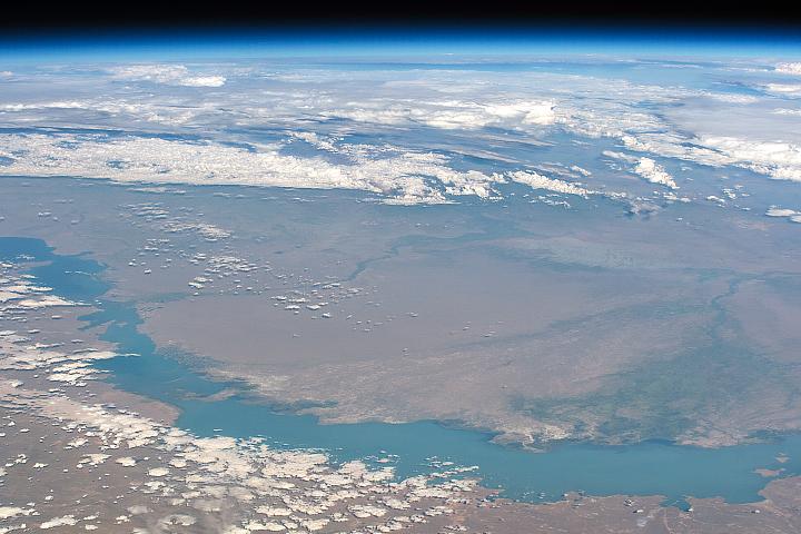 Lake Balkhash Under the Moon