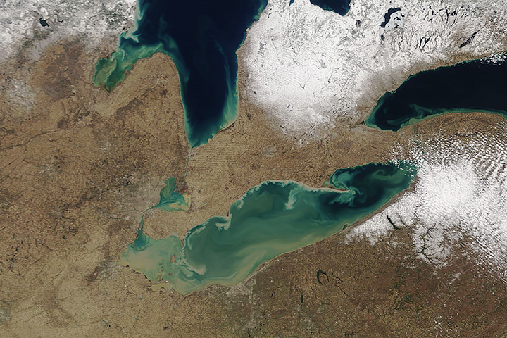 Spring Sediment Swirls in the Great Lakes