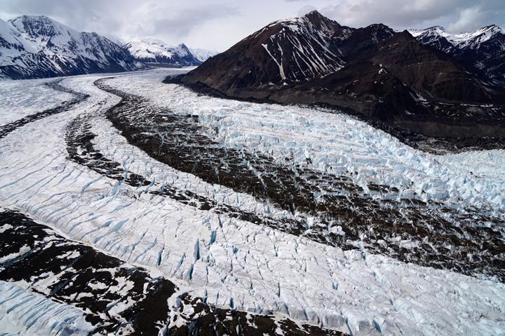 NASA Visible Earth: Dirty, Crevassed Glaciers in Alaska