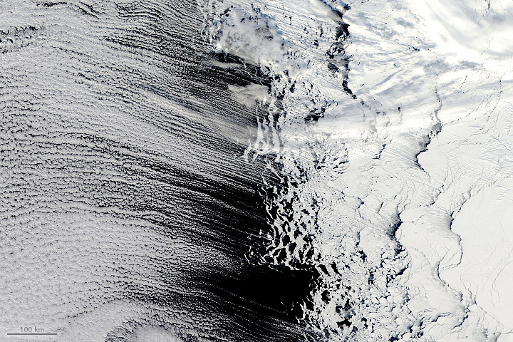 Cloud Streets Near Antarctica