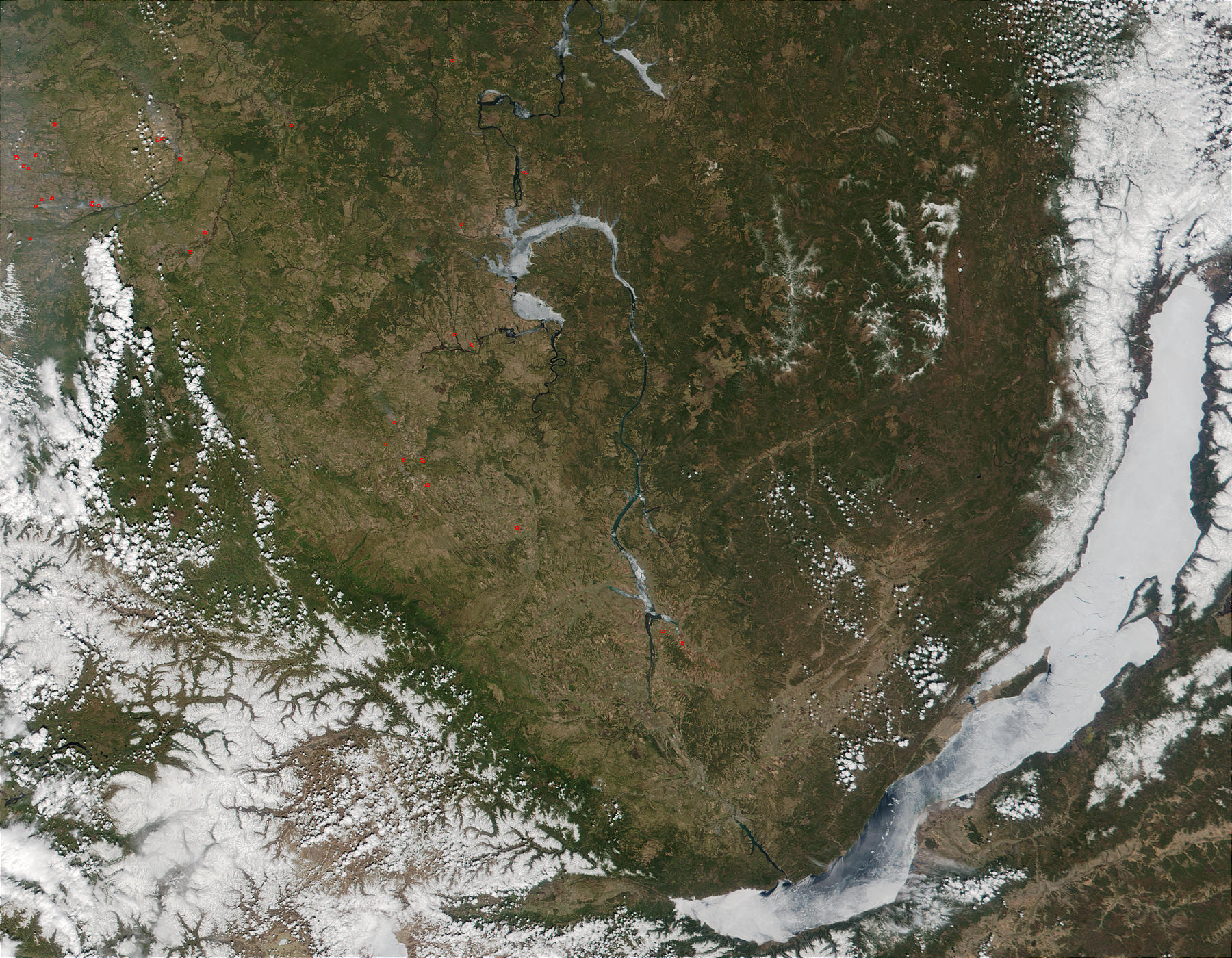 Wildfires west of Lake Baikal, Southern Russia - related image preview