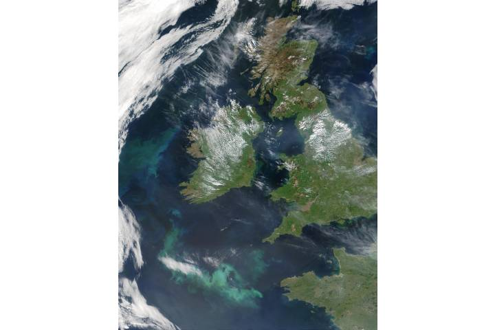Phytoplankton bloom west and south of Ireland - selected image