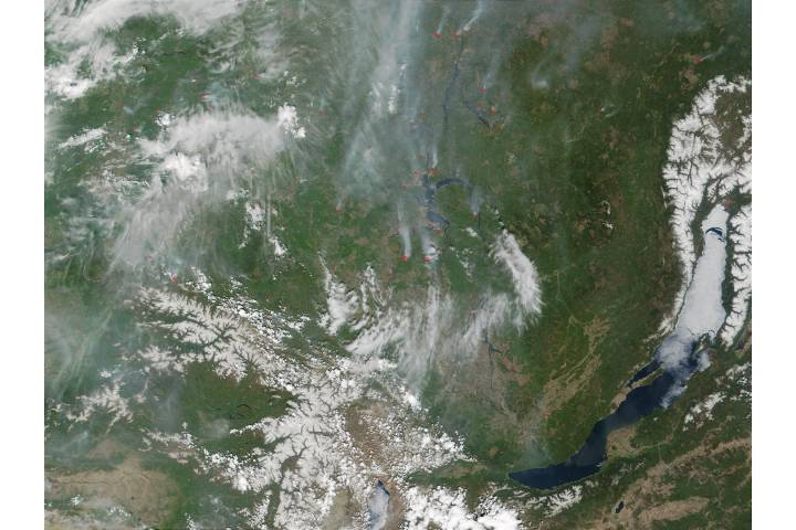 Fires near Lake Baikal, Russia - selected image