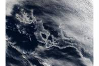 Ship tracks off Chile, South Pacific Ocean