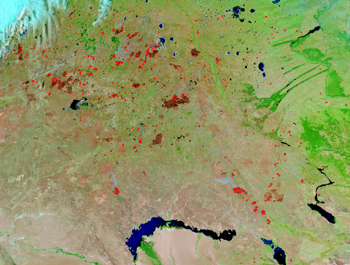 Fires and burn scars in Kazakhstan (false color) - related image preview