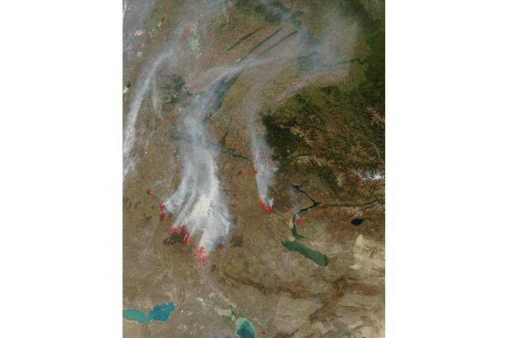 Fires and smoke in Kazakhstan - selected image